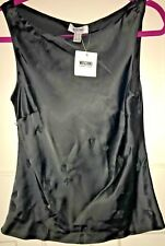 BNWT MOSCHINO black with design features stylish classic sleeveless top UK 12