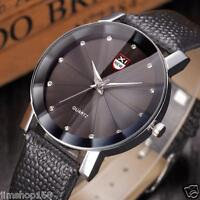 Luxury Men's Stainless Steel Quartz Military Sport Leather Band Dial Wrist Watch