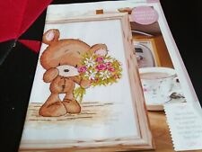 CROSS STITCH CHART COOKIE THE BEAR TEDDY HOLDING BUNCH OF FLOWERS CHART ONLY