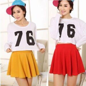 Ladies girls skirts women's belted flared plain mini SKATER SKIRT sizes UK 6-22