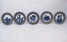 Vintage Delft Blue Hand Painted Miniature Pewter Framed Porcelain (Lot of 5)