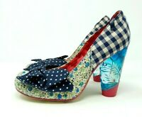 Irregular Choice Blue Gingham Bow Shoes with Lucite Heels UK 5 EU 38 Rockabilly