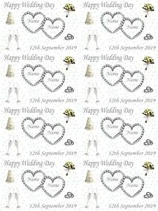 Personalised Wedding Day Silver Themed Gift Wrapping Paper ADD NAMES & DATE