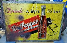 "VTG SST Dr Pepper Drink A Bite To Eat At 10 2 4 Tin Not Porcelain Sign 19"" X 27"""