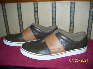 PUMA BROWN LEATHER MEN'S SLIP ON CASUAL SHOES SIZE 12
