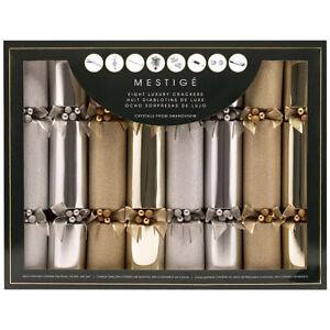 NEW Mestige Luxury Swarovski Crystal Christmas Crackers 8pk Xmas Party Gift Fun!