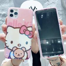 For iphone 11 Pro XS Max XR 7 8+ Cute Hello kitty Tempered Glass soft phone case