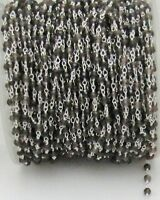 6 Feet Smoky Quartz Chain, Wire Wrapped Beaded Rosary Chain Silver Plated Chain