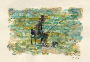 Llop - momentos especiales#10 'pescando' - acrílico s papel original 16x23