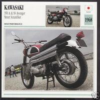 1968 Kawasaki 350cc A & SS Avenger Street Scrambler Motorcycle Photo Spec Card