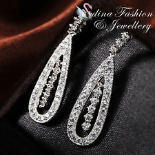18K White Gold Plated Simulated Diamond Luxury Studded Teardrop Wedding Earrings