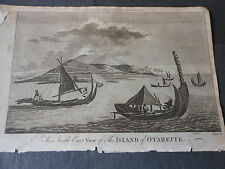 1790 COPPER ENGRAVED A NORTH EAST VIEW OF HAITI OTAHEITE JAMES COOK A.HOGG