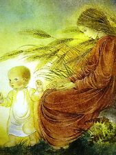 Sulamith Wulfing 1937 MOTHER & BABY in the AUTUM WIND WHEAT FIELD Print Matted