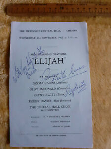 1962 Methodist Central Hall Chester Elijah programme locally signed