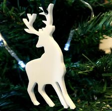 White Reindeer Christmas Tree Decoration - Pack of Ten