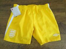 ENGLAND 2010 GK KEEPERS UMBRO YELLOW FOOTBALL SOCCER SHORTS BOYS 11-12 YEARS