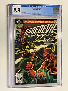 Daredevil 168 cgc 9.4 white pages marvel 1981 1st elektra