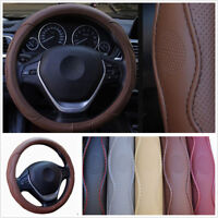Universal 38cm Car Styling Steering Wheel Cover Embossed Brown PU Leather
