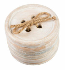 Sass & Belle Round Button Wood Coasters Set of 6 Shabby Chic Rustic Gift