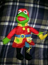 1990 Jim Henson Kermit the Frog Fireman Dress Me Plush Doll Teaches Mattel Arco