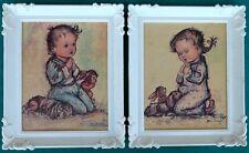 2 Rare Vintage Mid Century Child Praying Plastic Framed Picture Prints USA