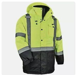 Mens Ergodyne Safety Jacket~High Visibility~Reflective~Insulated~ANSI Type R~4XL