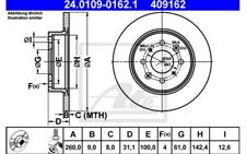 2x ATE Discos de Freno Traseros Pleno 260mm 24.0109-0162.1