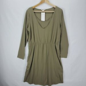 H&M Mama Maternity Nursing Dress Large Olive NWT
