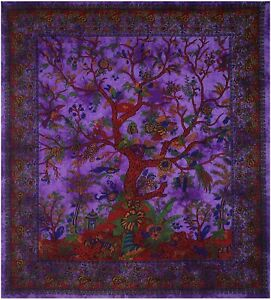 Bedding Bedspread Cotton Tree Of Life Design Queen Size Tapestry Wall Hanging
