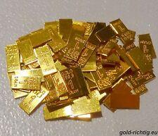 100x GOLDBARREN je 0,0648 Gramm mit ZERITFIKAT ! (999,9 Gold Barren Münze) NEU