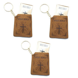 (3 Pack) Mini Bible Keychain English Holy Bible Religious Favor Christian Jesus