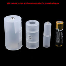 3Pcs AAA to AA/ AA to C/ AA to D Battery Adaptor Holder Case Converter SwitchZT
