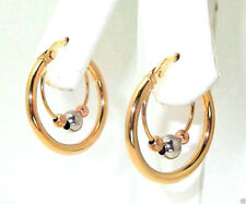 9CT HALLMARKED YELLOW WHITE & ROSE GOLD POLISHED CRADLED BEAD 19MM HOOP EARRINGS