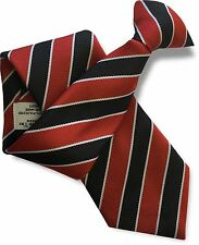 WCT - Black and Red Mens Clip On Tie Clipper with Narrow White Stripes