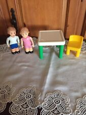 VINTAGE LITTLE TIKES DOLLHOUSE PEOPLE FIGURES & FURNITURE, TABLE CHAIRS KITCHEN