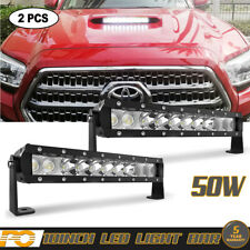 "10"" 50W Work Light Bar Hood Scoop For Toyota Pickup Offroad"