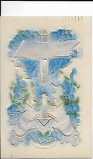 """Antique Postcard """"A Happy Easter"""" Heavily Embossed & Flocked, Printed in Germany"""