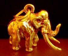 LOOK Gold Plated WOOLLY MAMMOTH Charm Dinosaur Elephant