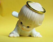 Vintage 1987 ~ Porcelain Ruth Morehead Enesco Holly Babes Angel Ornament ~ Nice