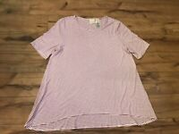 Chico's Pink/White Striped Short Sleeve Shirt Blouse Size 2 (Large)~ EUC ~ *WOW*
