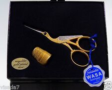 Wasa Solingen Gold Stork Scissors w Thimble Needlepoint Cross Stitch Quilters