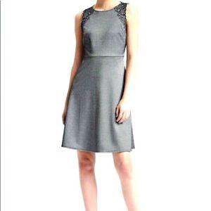 Banana Republic Women's Herringbone Embroidered Fit & Flare Dress Size 14
