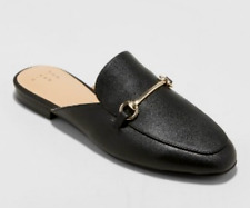 *WOMENS SIZE 6 BACKLESS SLIP ON KONA GOLD COLOR BAND MULES SHOES A NEW DAY BLACK