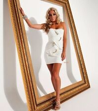 Cocktail Sexy Bodycon Evening White Party Club Bustier Pencil Jewelled Dress L