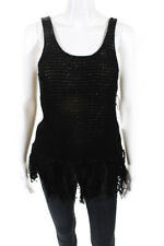 Bailey 44 Womens Tank Top Black Knit Tassel Size Small