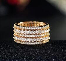 18k Gold made w Swarovski Crystal Stone Wide Eternity Ring Anniversary Band Sz 9