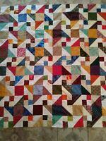 Handmade Patchwork Quilt Top 51x47 Handmade Quilt Top Stunning Colors WOW