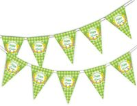 Happy Easter - Daffodil on Pattern - Bunting Banner 15 flags by PARTY DECOR