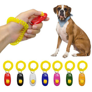 Pet Dog Puppy Training Clicker Click with Wrist Strap Teaching Obedience Trainer