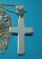 925 Sterling Silver Cross Crucifix Pendant 29 x 17 mm with Curb Chain Necklace